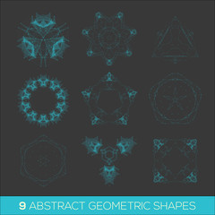 Set of geometric shapes, lowpoly shapes, triangles, line design