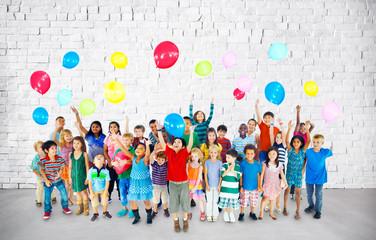 Multiethnic Children Smiling Happy Friendship Balloon Concept