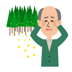 An elderly man with itchy eyes, allergy caused by cedar pollen