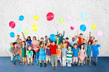 Children Smiling Happiness Friendship Balloon Concept