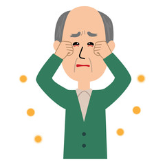 An elderly man with itchy eyes, allergen flowing in the air