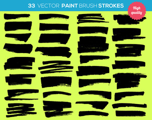 33 vector paint brushes. Ink strokes, paint splash set. Grunge