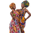 African female models posing in dresses.