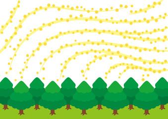森から飛散する花粉