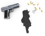 Gunpowder forming the shape of Tunisia .(series) poster
