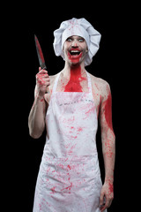 butcher man. aggressive maniac chef in the blood