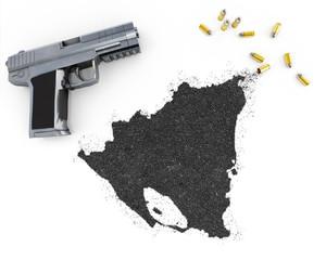 Gunpowder forming the shape of Nicaragua .(series)