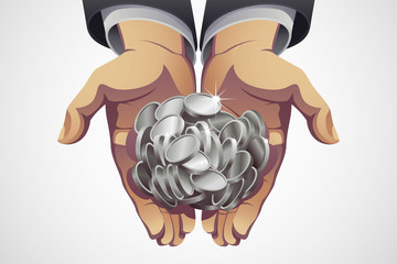 Businessman's Hands Holding Silver Coins