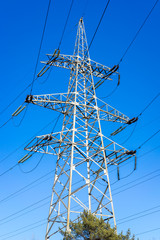 High-voltage tower in a sunny day