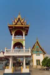 bell tower with sky background at Wat Bung Born
