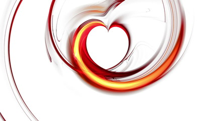 Abstract blazing red heart forming on white background