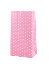 Pink polka dot paper bag isolated on white