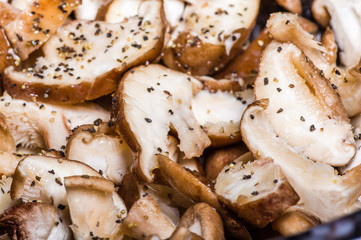 Sliced mushrooms prepared for cooking