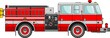 Fire truck on a white background in a flat style