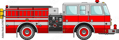 Fire truck on a white background in a flat style - 79875093