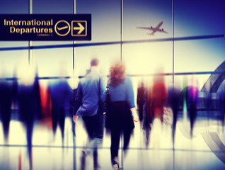 Business People Walking Rushing Flying Airport Concept