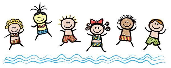 Badende springen ins Meer, handgezeichnet, Vektor, freigestellt