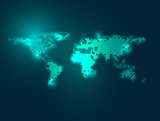 abstract background of digital world map