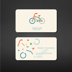 business cards creative template back and front with bicycle