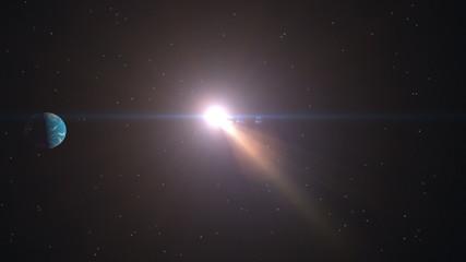 Earth rotating around the sun - seamless loop