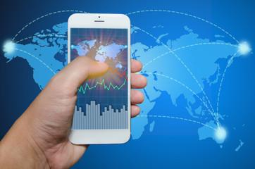 Smart phone view Business shipment graph.