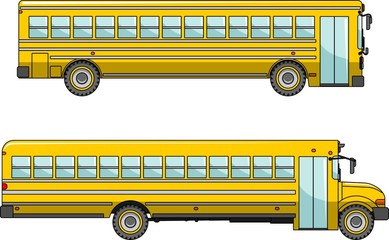 School bus isolated on white background in flat style