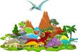 Dinosaur cartoon with landscape background - 79876672