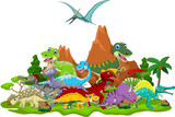 Fototapety Dinosaur cartoon with landscape background