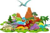 Fototapety Dinosaur cartoon with landscape background
