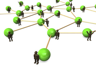 Netzwerk mit grünen Kugeln und braunen Männchen