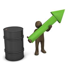 3D Rendering, Steigender Ölpreis, Männchen mit grünem Pfeil