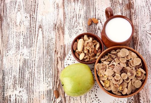 Keuken foto achterwand Boodschappen breakfast on table