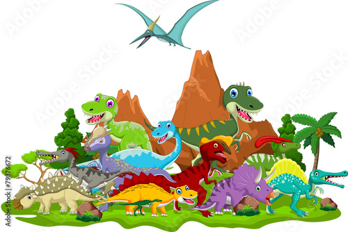 Dinosaur cartoon with landscape background - 79876672