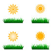 sun icon with green grass