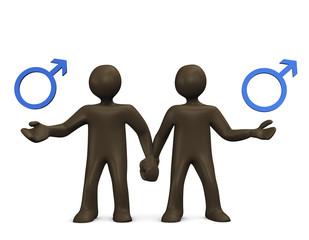 Schwules Paar, Comicfiguren, Symbol, 3D Illustration