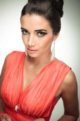 Gorgeous elegant woman wearing a red dress