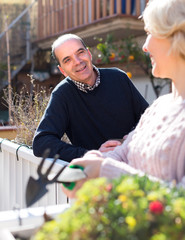 Senior man looking at his wife