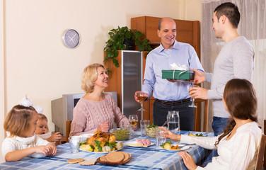 family  at festive dinner