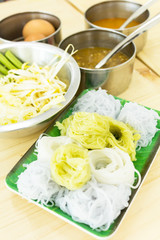 Rice vermicelli eaten with sweet sauce and vegetable