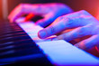 Leinwanddruck Bild - hands of musician playing keyboard in concert with shallow depth