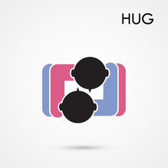 Abstract hug symbol. This graphic also represents couple in love