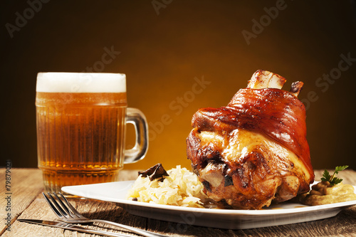 Roasted knuckle of pork with boiled cabbage, bread, horseradish - 79879021