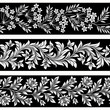 set of seamless floral borders