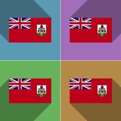 Flags Bermuda. Set of colors flat design and long s