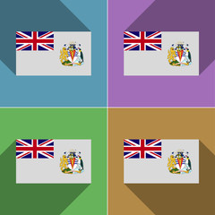 Flags British Antarctic Territory. Set of colors flat de