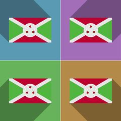 Flags Burundi. Set of colors flat design and long sh