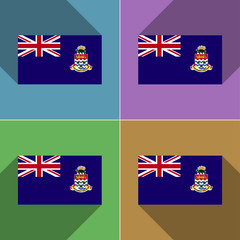 Flags Cayman Islands. Set of colors flat design and