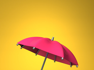 Red Umbrella On Yellow Text Space
