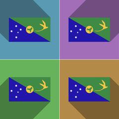 Flags Christmas Island. Set of colors flat design an