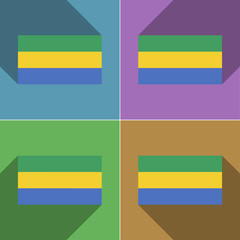 Flags Gabon. Set of colors flat design and long sha